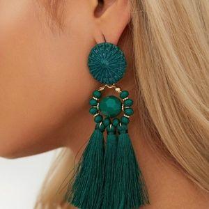 Denim - Green tassel earrings NWT!